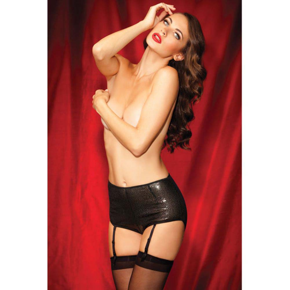 Rene Rofe Show Girl Classic High Waisted Sequin Garter Panty Large Black - View #3