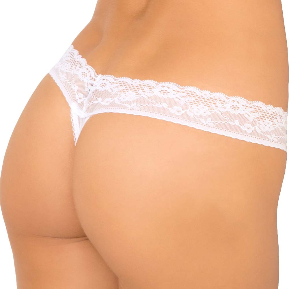 Rene Rofe Show Girl No Pinch Lace Waist Sequin Thong Mesh Back Large White - View #2