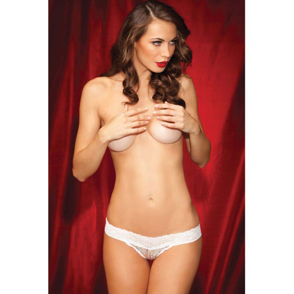 Rene Rofe Show Girl No Pinch Lace Waist Sequin Thong Mesh Back Small White - View #3