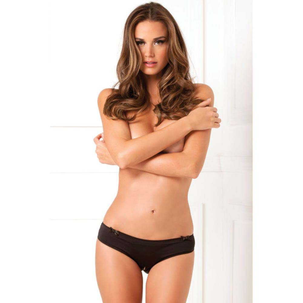 Rene Rofe Black Magic Crotchless Open Back Panty Small/Medium Black - View #3