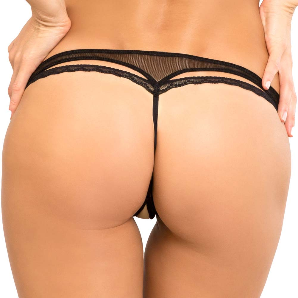 Rene Rofe Crotchless Open Mind G-String Medium/Large Black - View #2