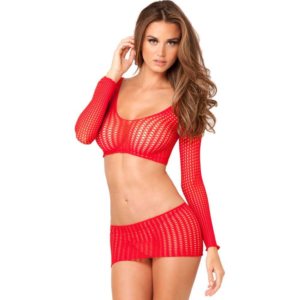 Rene Rofe Crochet Long Sleeved Crop Top with Matching Mini One Size Red - View #1