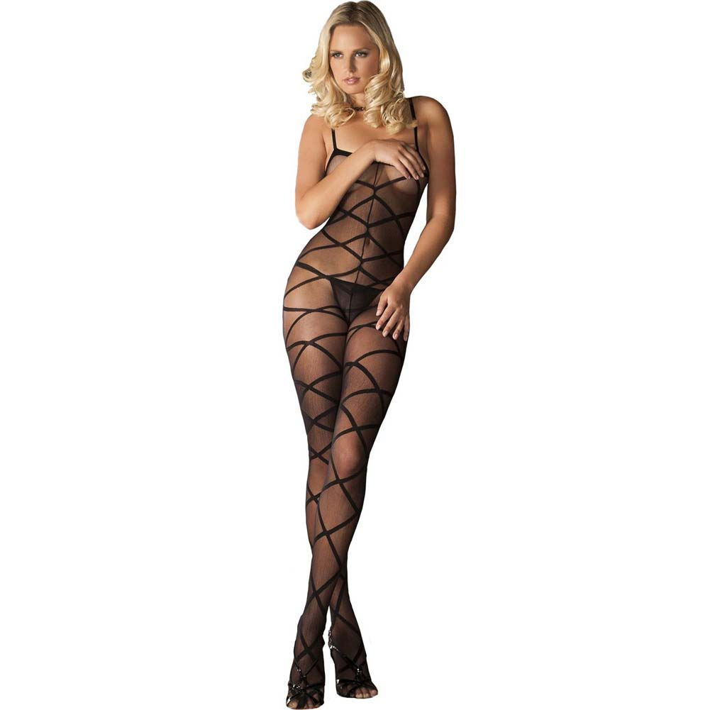 Rene Rofe Strapped Up Sheer Bodystocking One Size Black - View #1