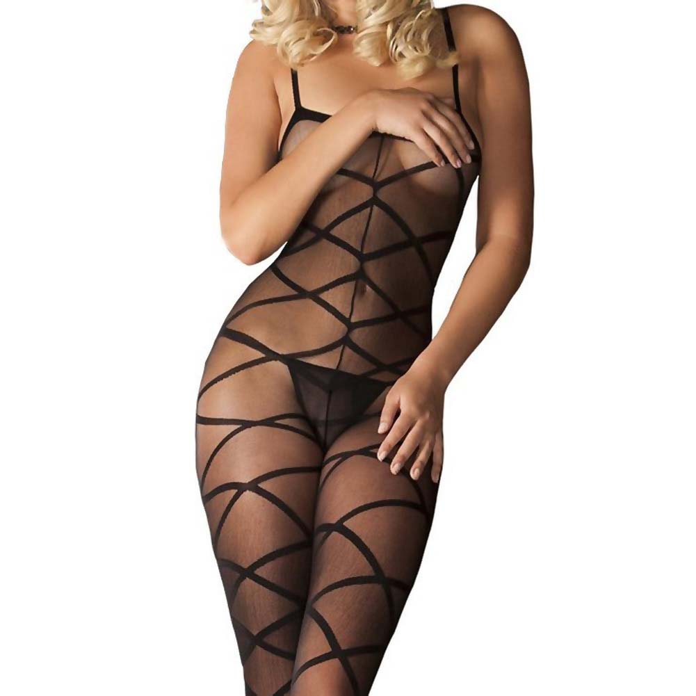 Rene Rofe Strapped Up Sheer Bodystocking One Size Black - View #3