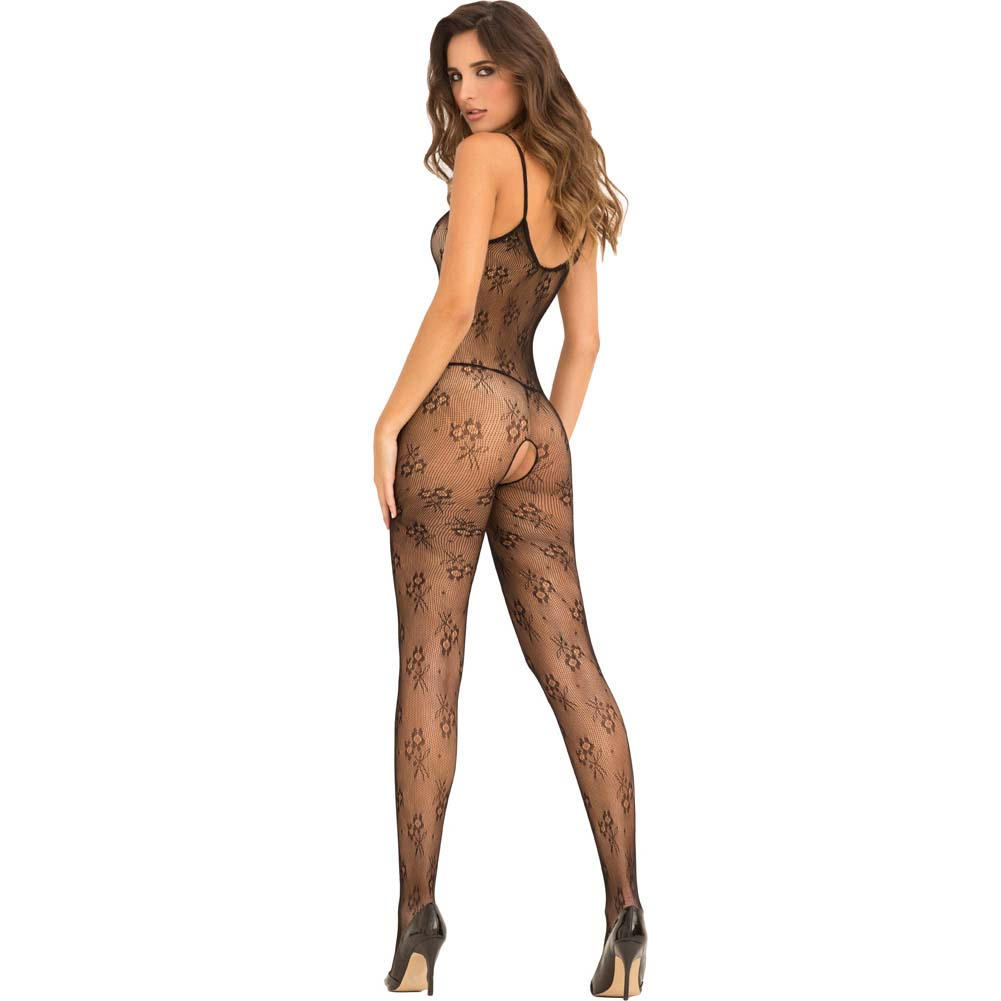 Rene Rofe Floral Lace Bodystocking One Size Black - View #2