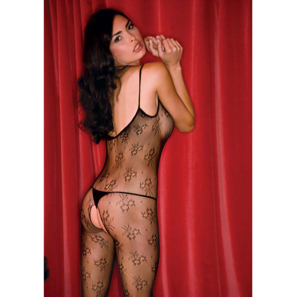 Rene Rofe Floral Lace Bodystocking One Size Black - View #4