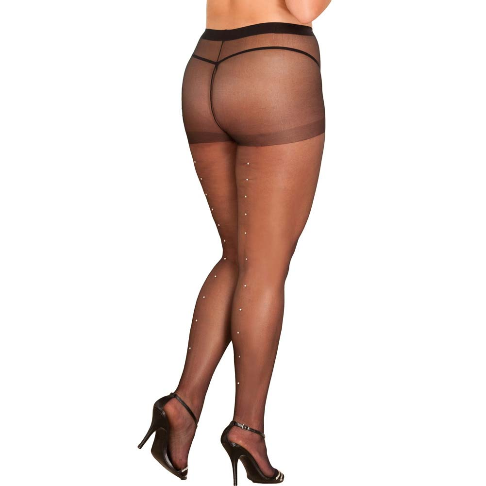 Rene Rofe Rhinestone Sheer Pantyhose Queen Size Black - View #1
