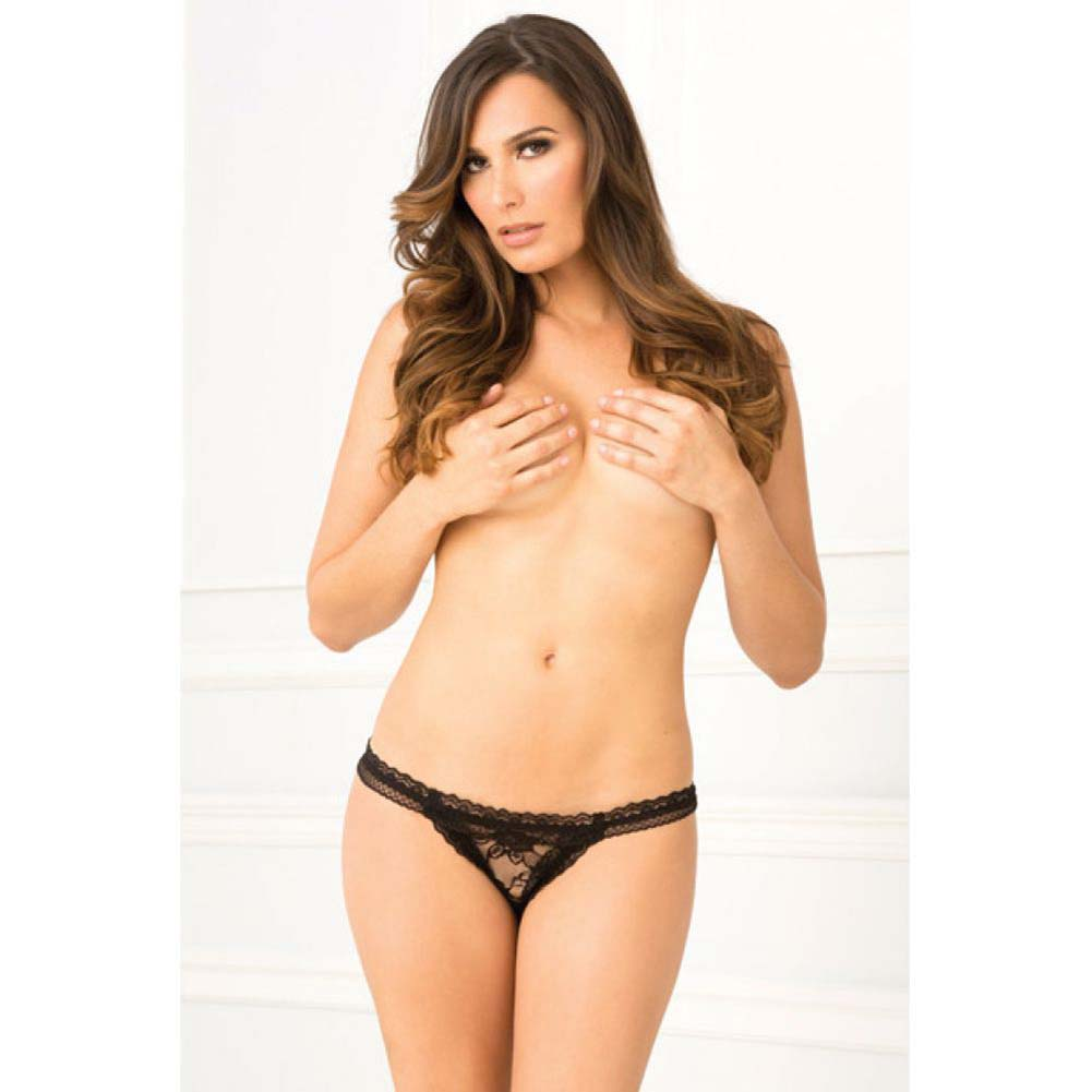 Rene Rofe Crotchless Lace Panty Small/Medium Black - View #3