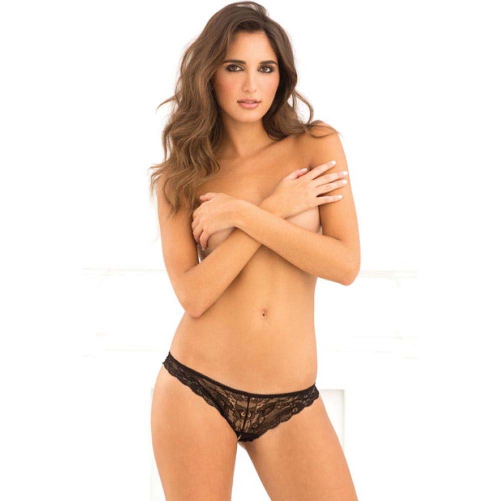Rene Rofe Crotchless Lace V-Back Panty Small/Medium Black - View #3