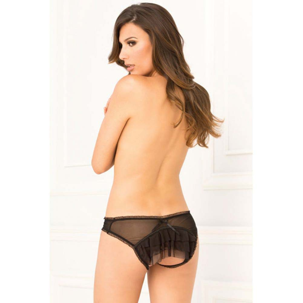 Rene Rofe Layer Cake Ruffle Back Crotchless Panty Small/Medium Black - View #3