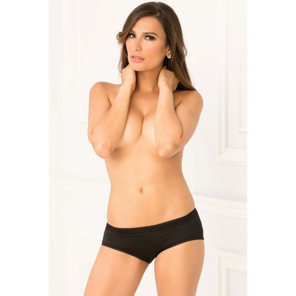 Rene Rofe Crotchless Open Back Lace Panty Medium/Large Black - View #4
