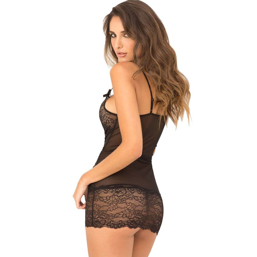 Rene Rofe 2 Piece Lace Front Chemise and G-String Set Medium/Large Black - View #2