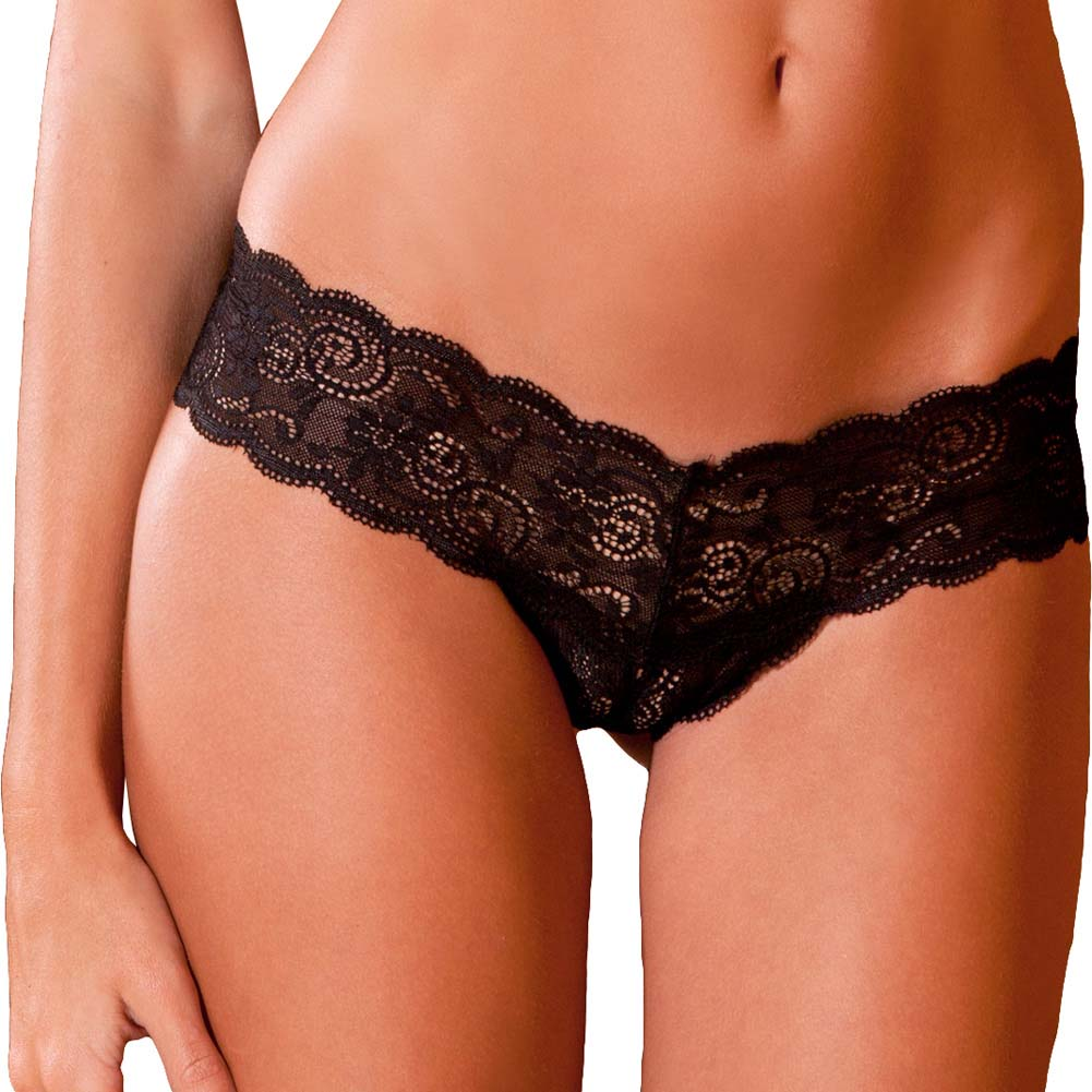 Rene Rofe Crotchless Lace Thong with Lace-Up Back Small/Medium Black - View #2