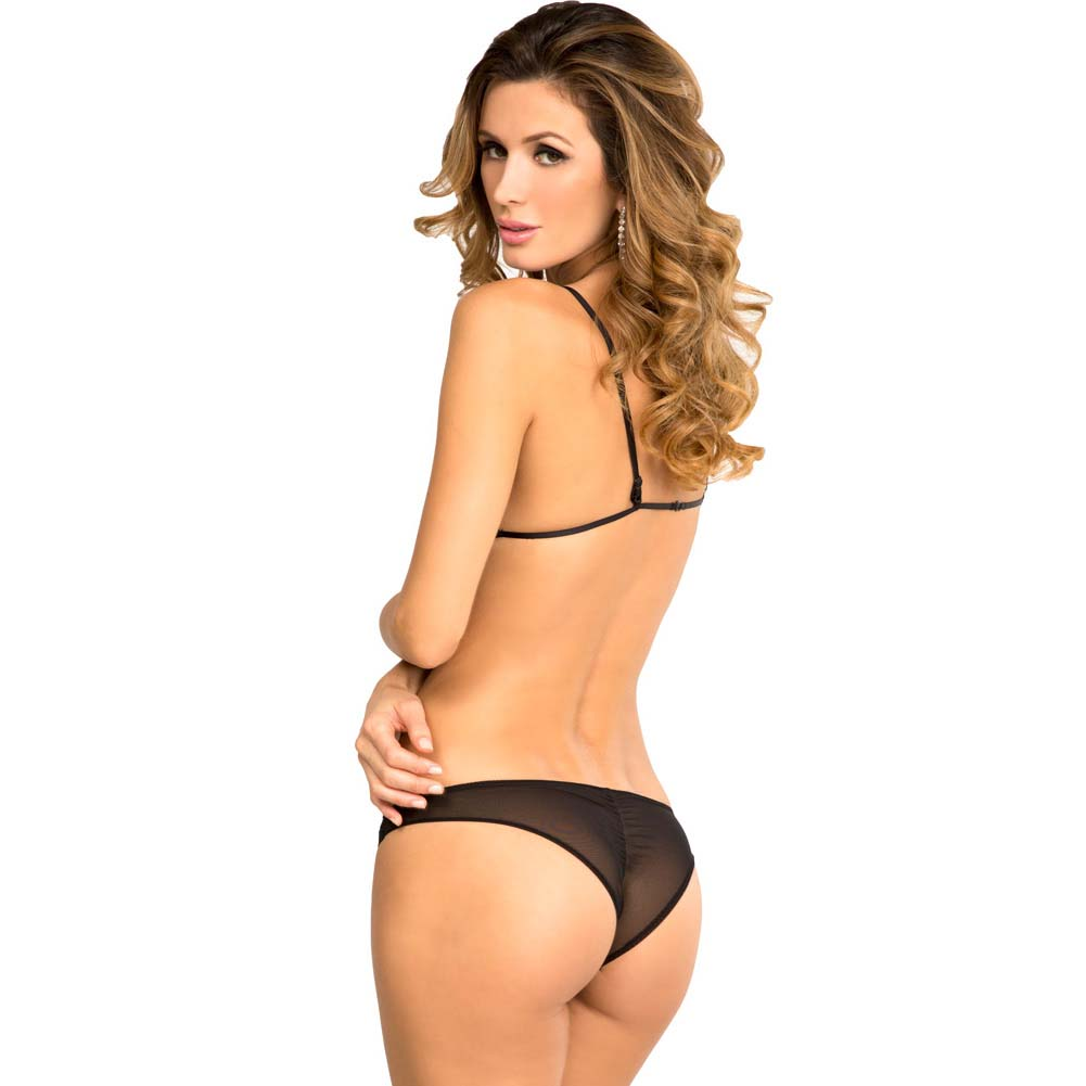 Rene Rofe Provactive Lace Bra and Panty Set Small/Medium Black - View #2