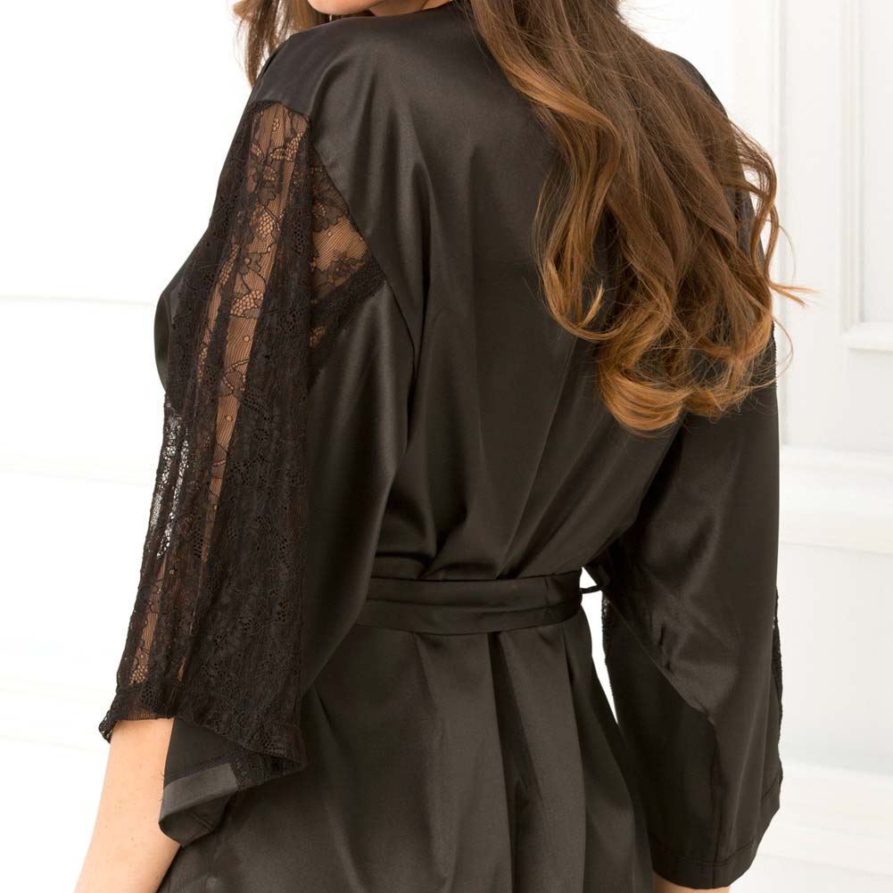 Rene Rofe Satin Robe with Lace Sleeves Medium/Large Black - View #3