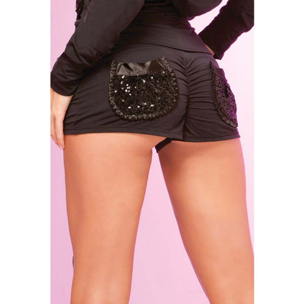 Pink Lipstick Loungewear Stretch Boyshort with Ruched Back Oversized Pockets Large Black - View #2