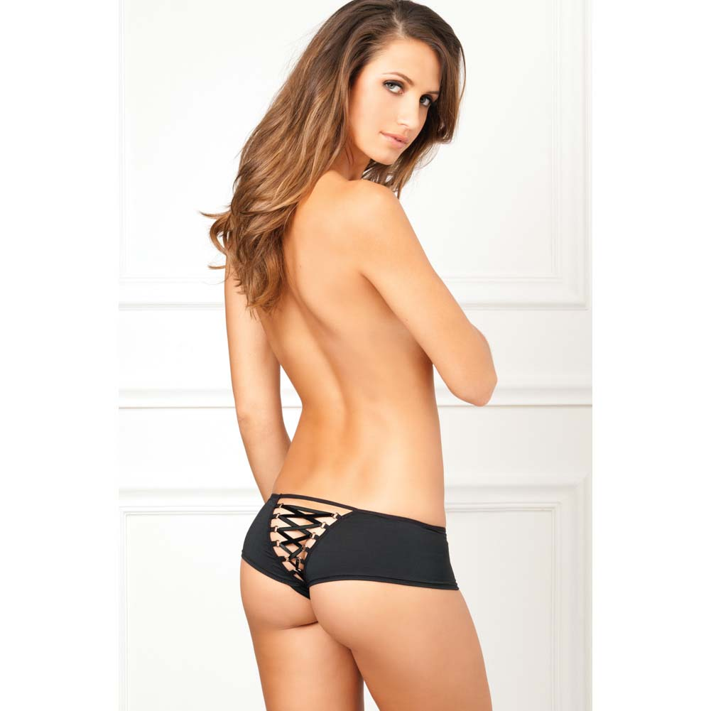 Rene Rofe Crotchless Lace Up Back Panty Small/Medium Black - View #3