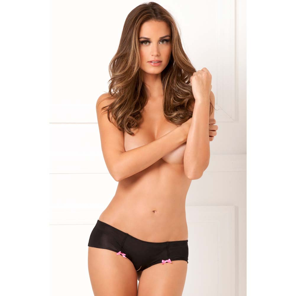 Rene Rofe Hot Dots Crotchless Boyshort Panty Small/Medium Black/Pink - View #3