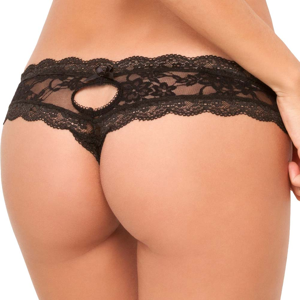 Rene Rofe Crotchless Floral Lace Thong Medium/Large Black - View #2