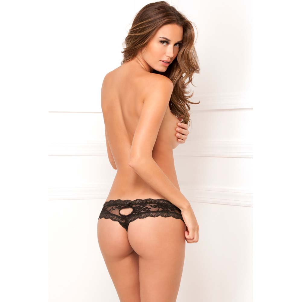 Rene Rofe Crotchless Floral Lace Thong Medium/Large Black - View #4