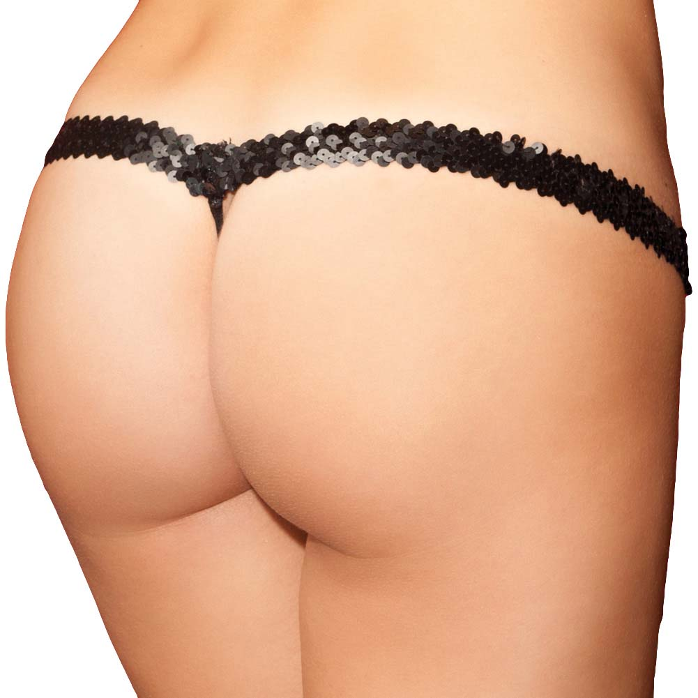 Rene Rofe Show Girl Dazzling G-String Sequin Waistband Panty Medium Black - View #2