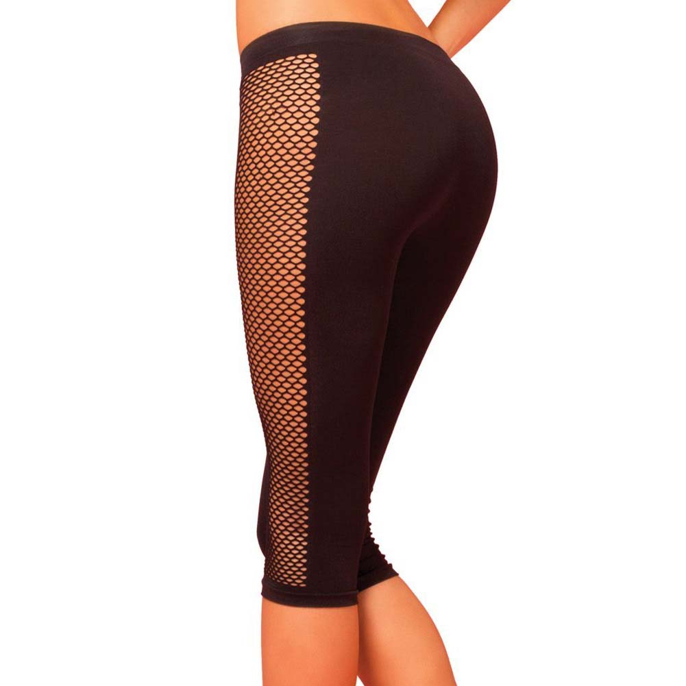 Pink Lipstick Sweat Side Net Stretch Crop Pants for Support and Compression Small/Medium Black - View #2