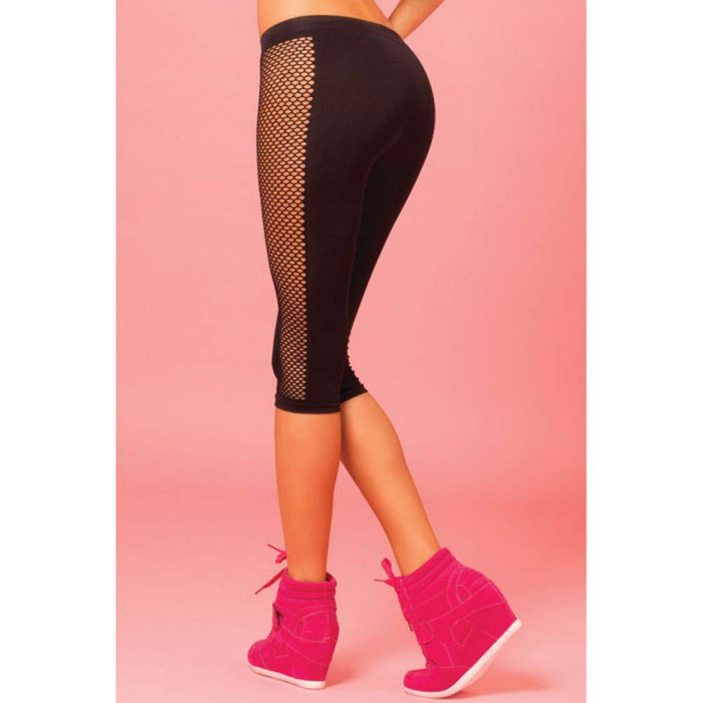 Pink Lipstick Sweat Side Net Stretch Crop Pants for Support and Compression Small/Medium Black - View #4