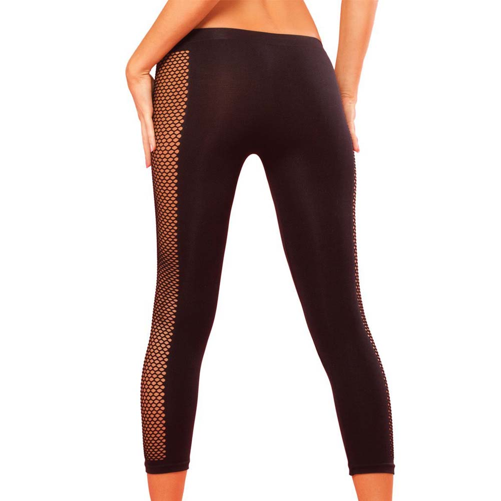 Pink Lipstick Sweat Side Net Stretch Pants for Support and Compression Small/Medium Black - View #2