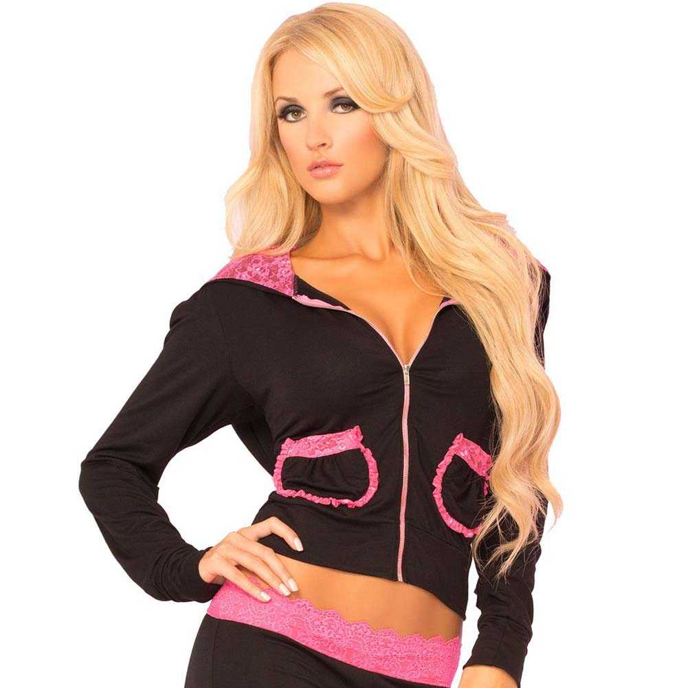 Pink Lipstick Loungewear Lace Trim Cropped Hoodie Large Black - View #1