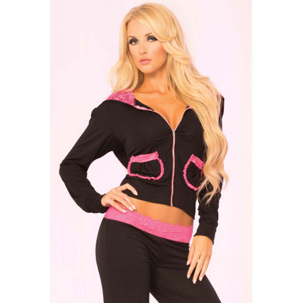 Pink Lipstick Loungewear Lace Trim Cropped Hoodie Large Black - View #3