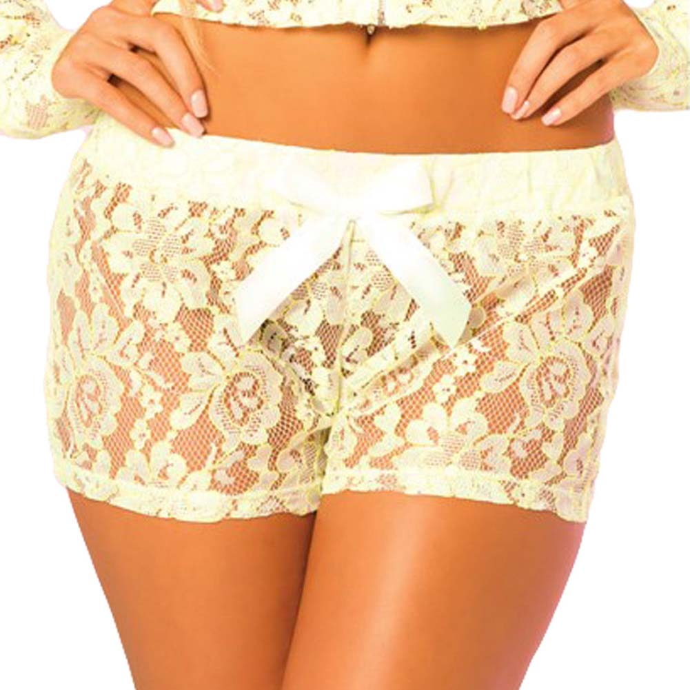 Pink Lipstick Loungewear Luxurious Lace Lounge Shorts Medium Green - View #1