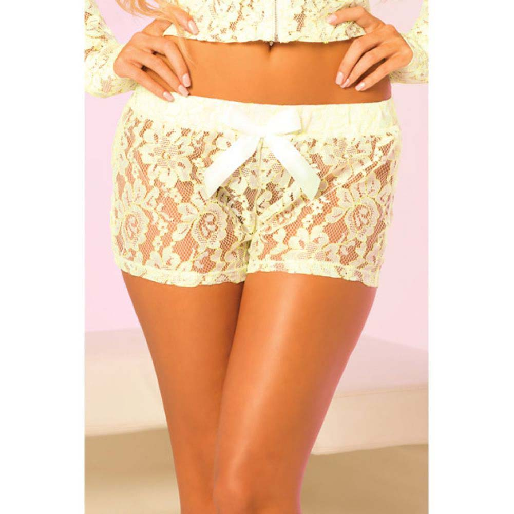Pink Lipstick Loungewear Luxurious Lace Lounge Shorts Medium Green - View #3