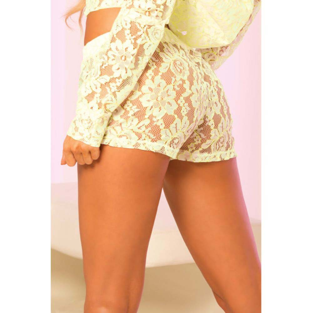 Pink Lipstick Loungewear Luxurious Lace Lounge Shorts Small Green - View #2