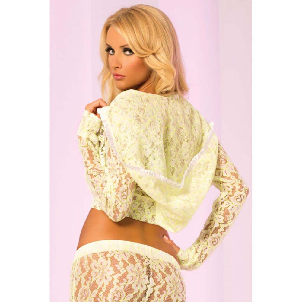 Pink Lipstick Loungewear Luxurious Lace Cropped Hoodie Small Green - View #2
