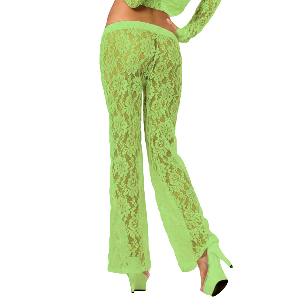 Pink Lipstick Loungewear Luxurious Lounge Pants Medium Green - View #2