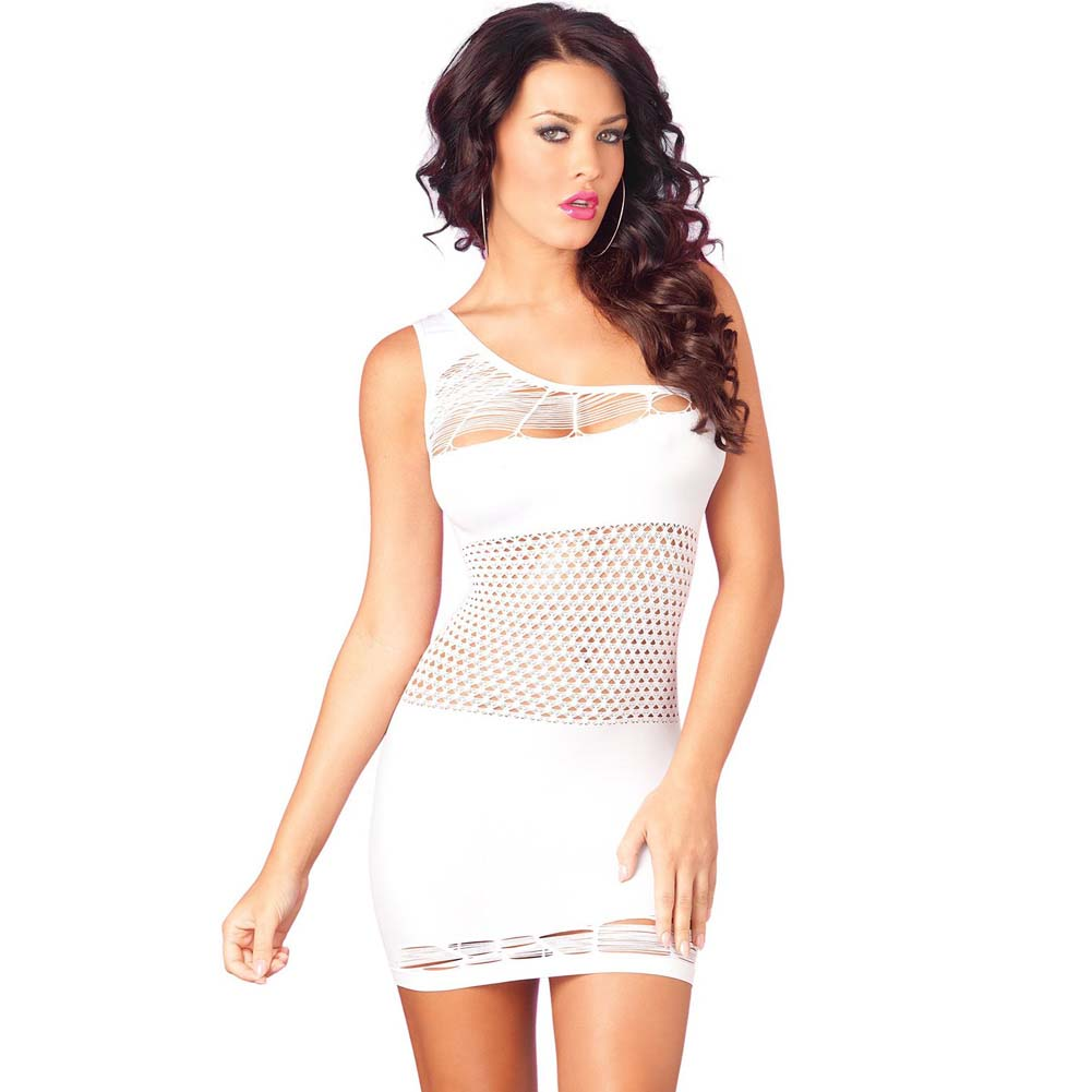 Pink Lipstick Seamless One Shoulder Mini Dress Middle Fishnet One Size White - View #1