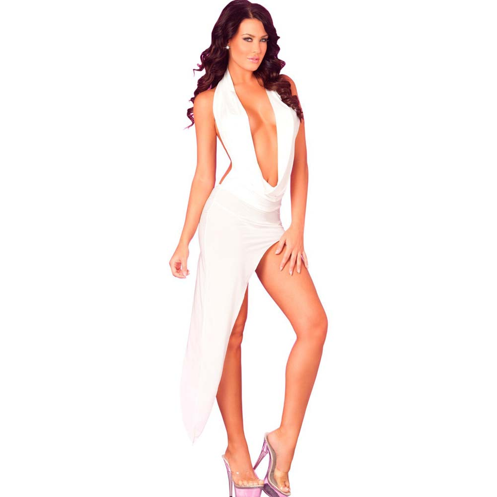 Pink Lipstick Drape Front Floor Length Dress G-String Medium/Large White Black Light - View #1