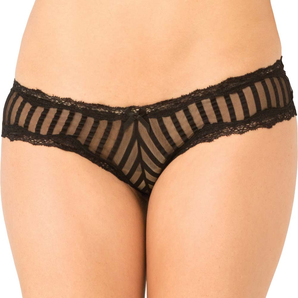 Rene Rofe Crotchless Striped Mesh Panty Small/Medium Black - View #1
