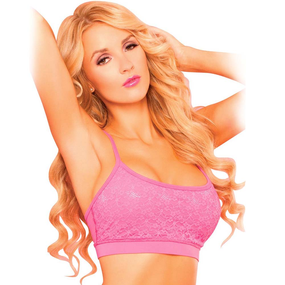 Pink Lipstick Sweat Lacy Sports Bra with Secret Pocket and Removable Pads Medium Pink - View #1