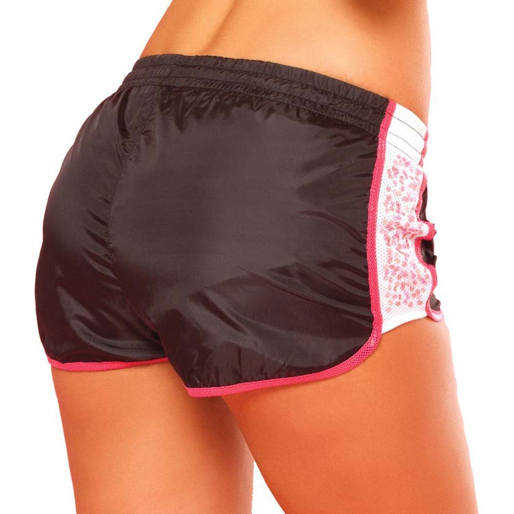 Pink Lipstick Sweat Sequin Running Shorts with Built in Panty Medium Black - View #2