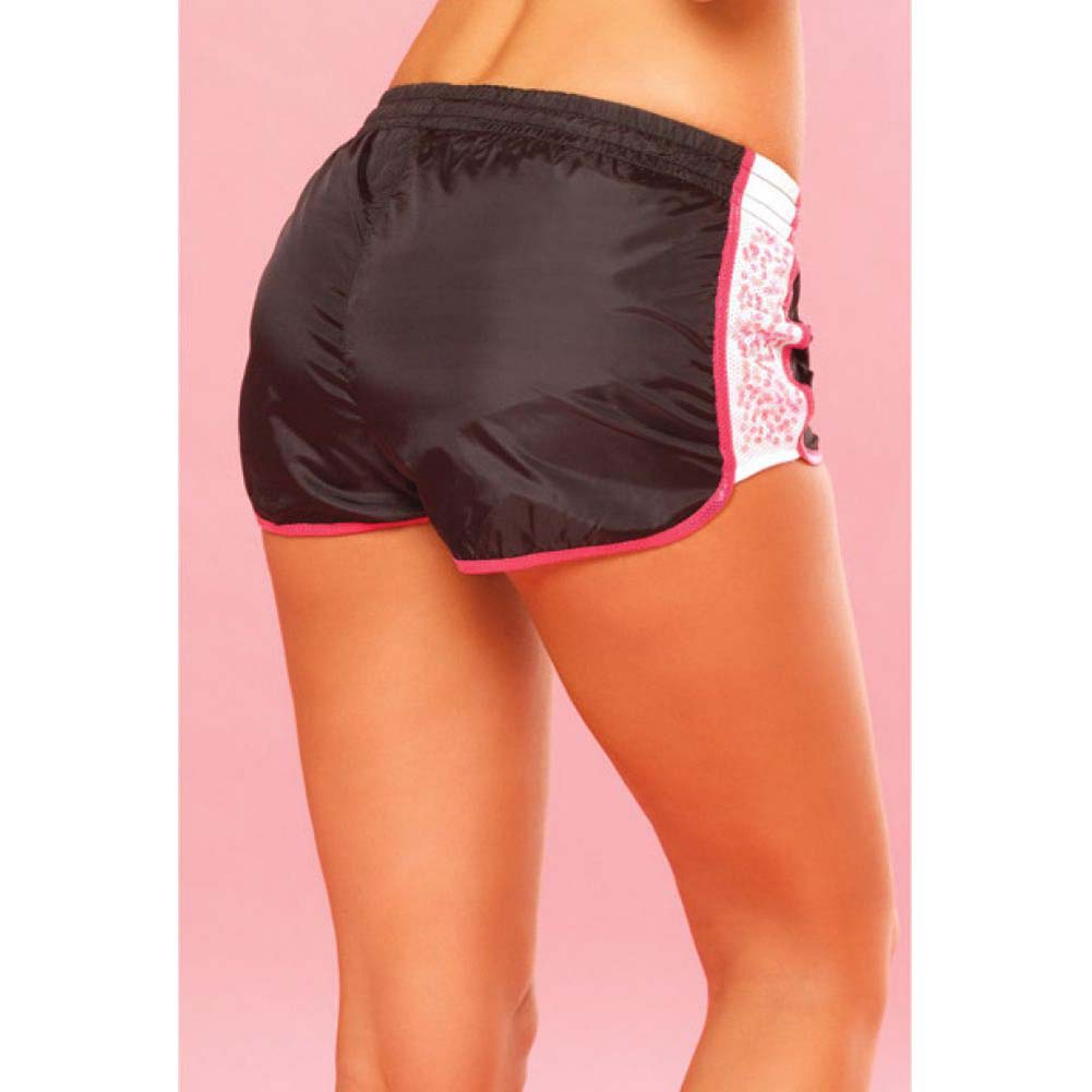 Pink Lipstick Sweat Sequin Running Shorts with Built in Panty Medium Black - View #4