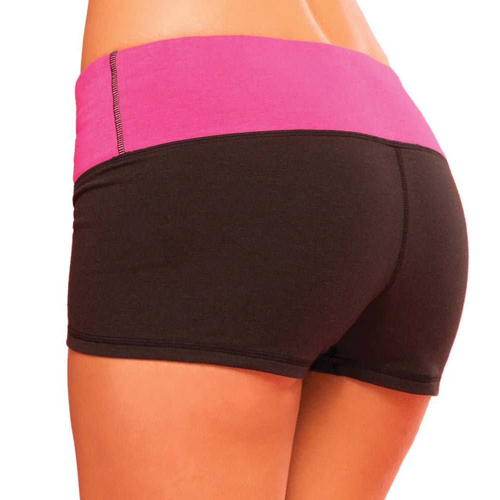 Pink Lipstick Sweat Yoga Shorts Thick Reversible Supprt and Compression with Pocket Medium Black - View #2