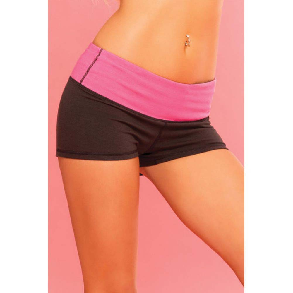 Pink Lipstick Sweat Yoga Shorts Thick Reversible Supprt and Compression with Pocket Medium Black - View #4