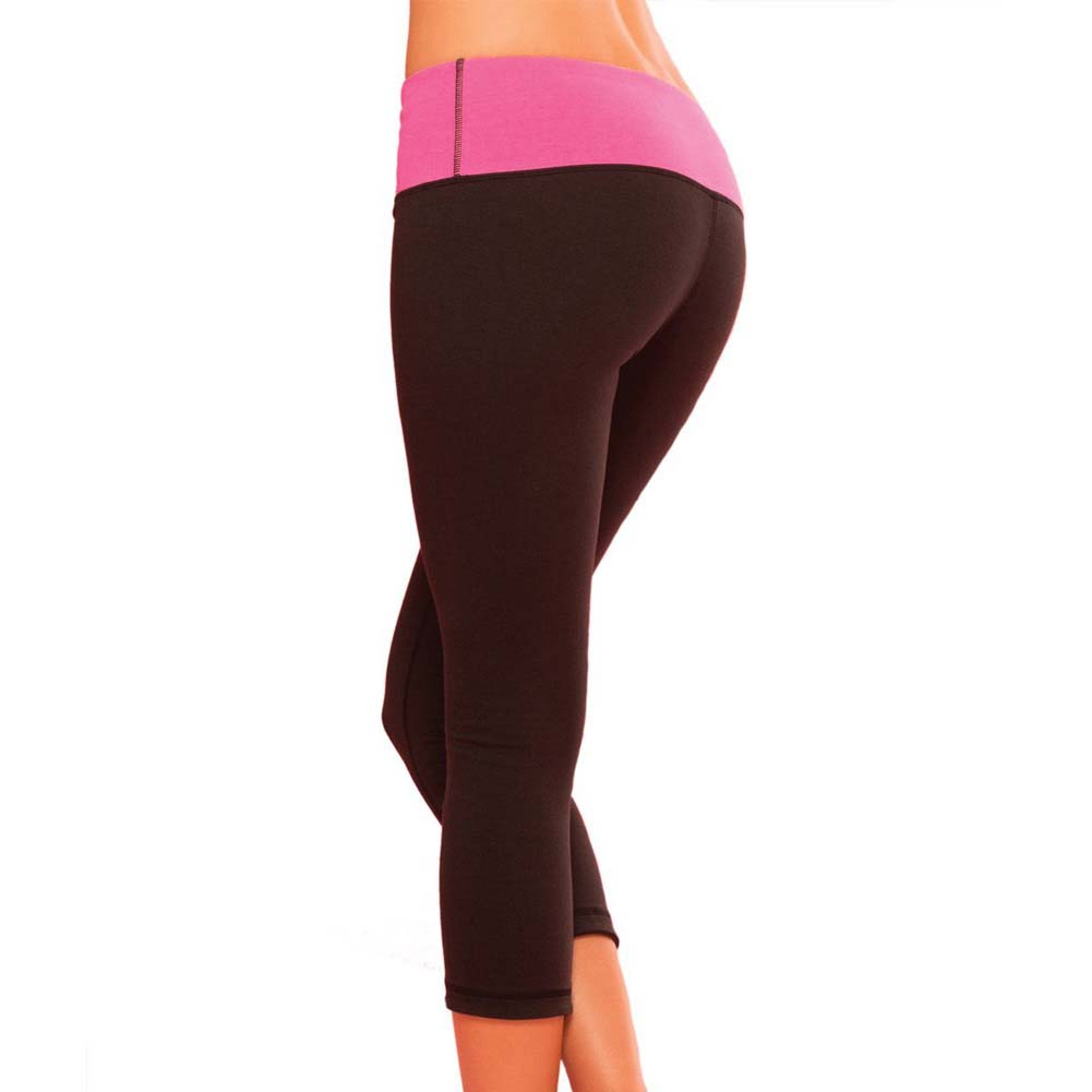 Pink Lipstick Sweat Yoga Pants Thick Reversible Supprt and Compression with Pocket Large Black - View #2