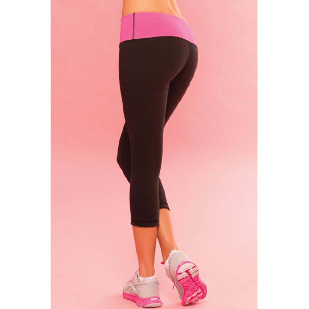 Pink Lipstick Sweat Yoga Pants Thick Reversible Supprt and Compression with Pocket Large Black - View #4