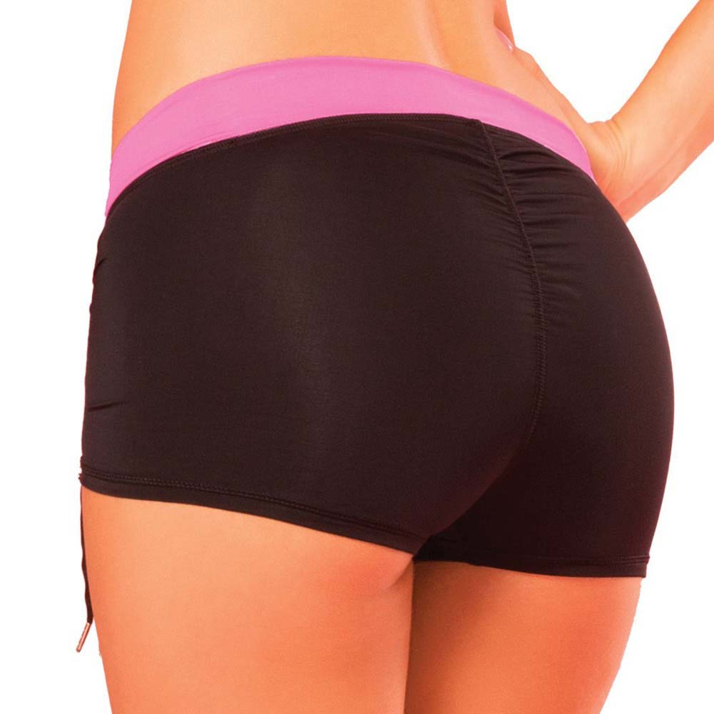 Pink Lipstick Sweat Fitness Cinchable Hot Shorts Medium Black - View #2
