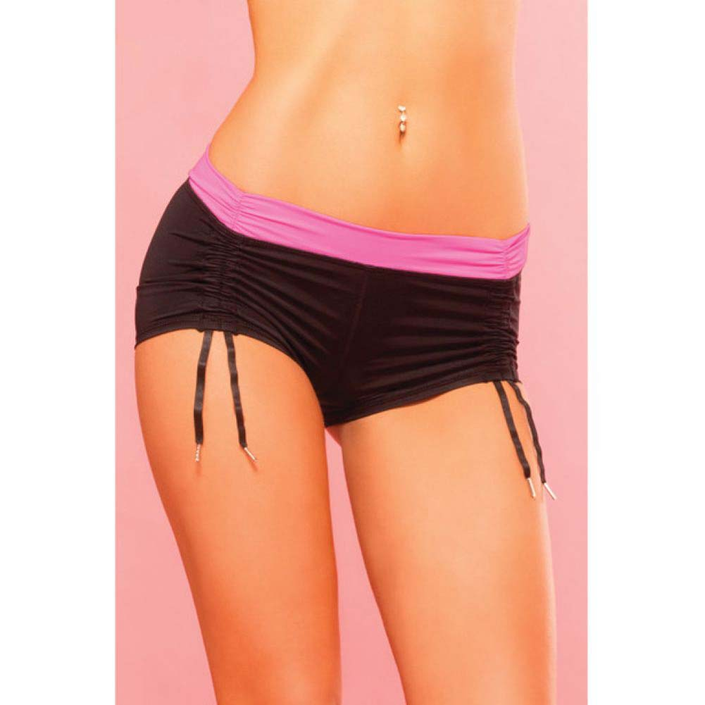 Pink Lipstick Sweat Fitness Cinchable Hot Shorts Small Black - View #3