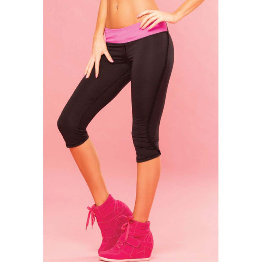 Pink Lipstick Sweat Fitness Pant Ruffle Cropped Pants with Fringe Side and Pocket Large Black - View #3
