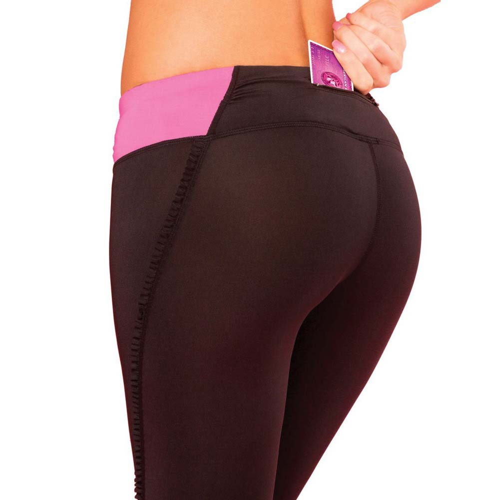 Pink Lipstick Sweat Fitness Pant Ruffle Cropped Pants with Fringe Side and Pocket Medium Black - View #2