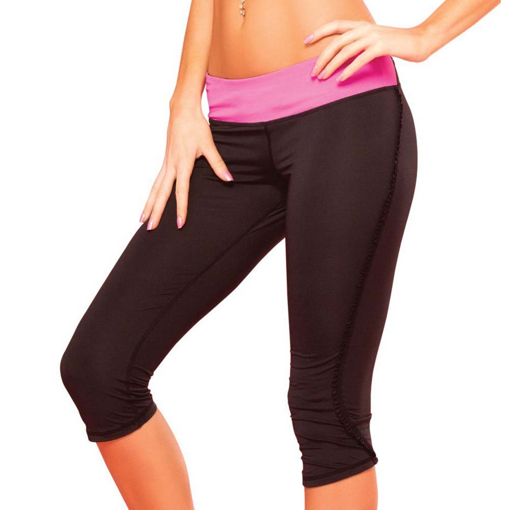 Pink Lipstick Sweat Fitness Pant Ruffle Cropped Pants with Fringe Side and Pocket Small Black - View #1